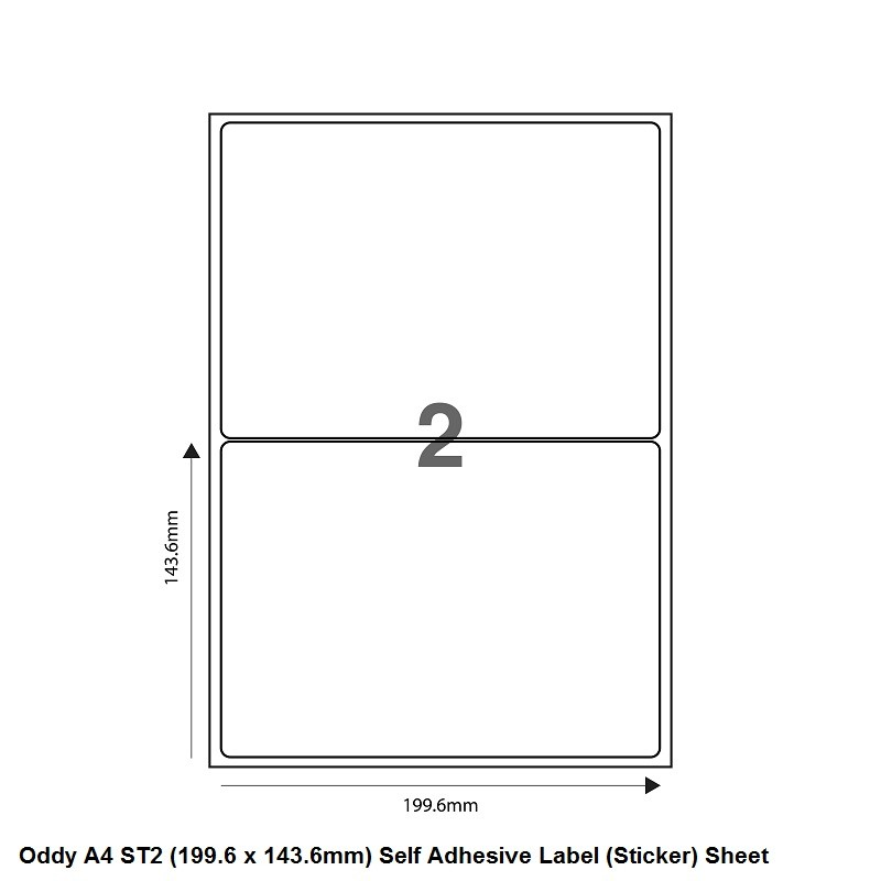 Oddy Label Sheets St 2 A4100 Pack Of 100 Sheets 2 Label Sheet Penpaperoffice