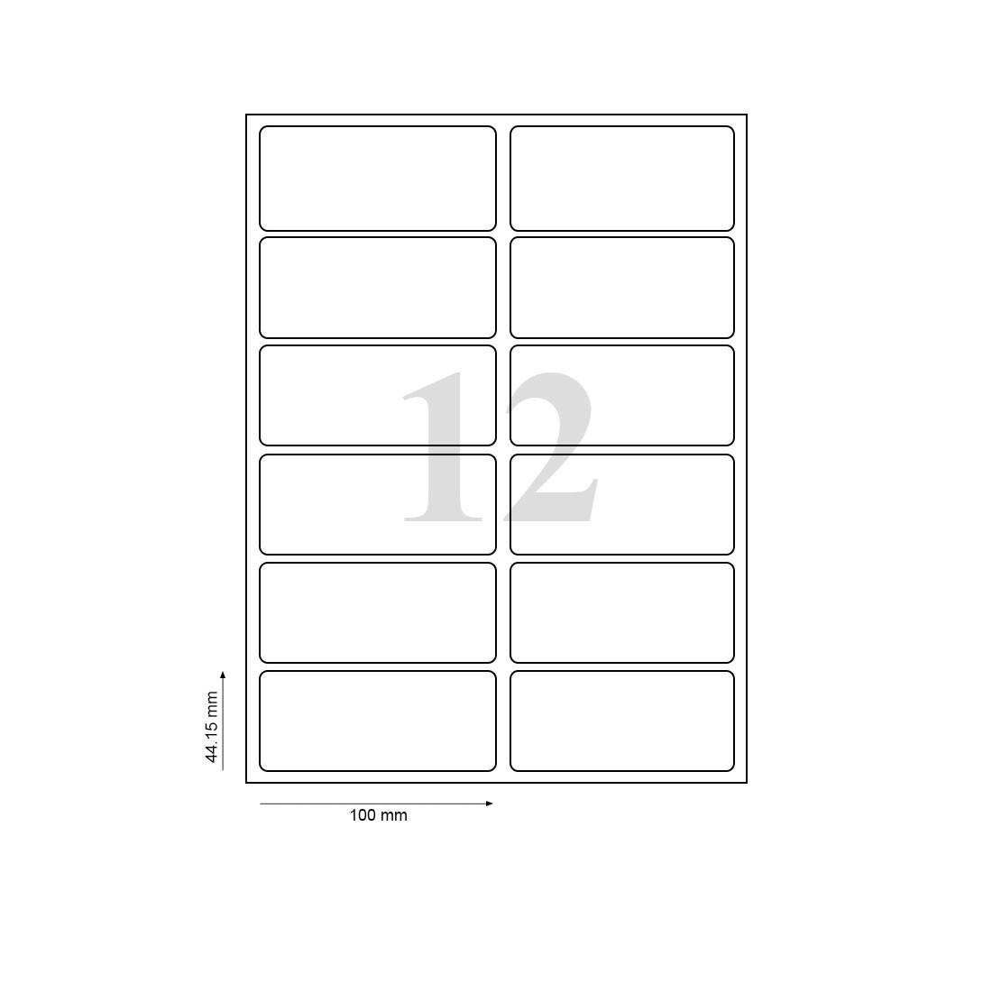 Oddy Label Sheets St 12 A4100 Pack Of 100 Sheets 12 Label Sheet Penpaperoffice